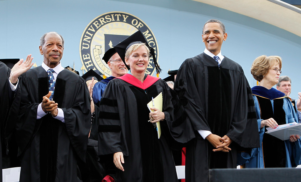 . President Barack Obama stands with, from left to right: Jazz musician Ornette Coleman, Michigan Gov. Jennifer Granholm, and University of Michigan President Mary Sue Coleman at the University of Michigan commencement ceremony in Ann Arbor, Saturday, May 1, 2010. (AP Photo/Charles Dharapak)