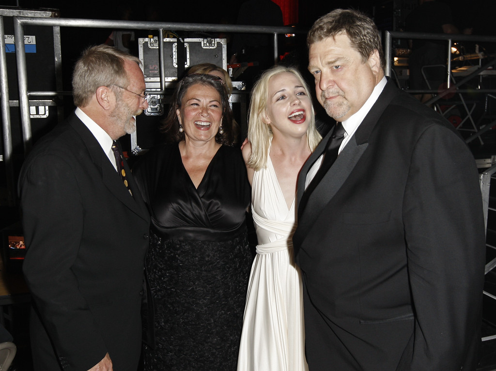 . From left, Martin Mull, Roseanne Barr, Alicia Goranson, and John Goodman are seen backstage at the TV Land Awards on Sunday June 8, 2008 in Santa Monica, Calif. (AP Photo/Matt Sayles)