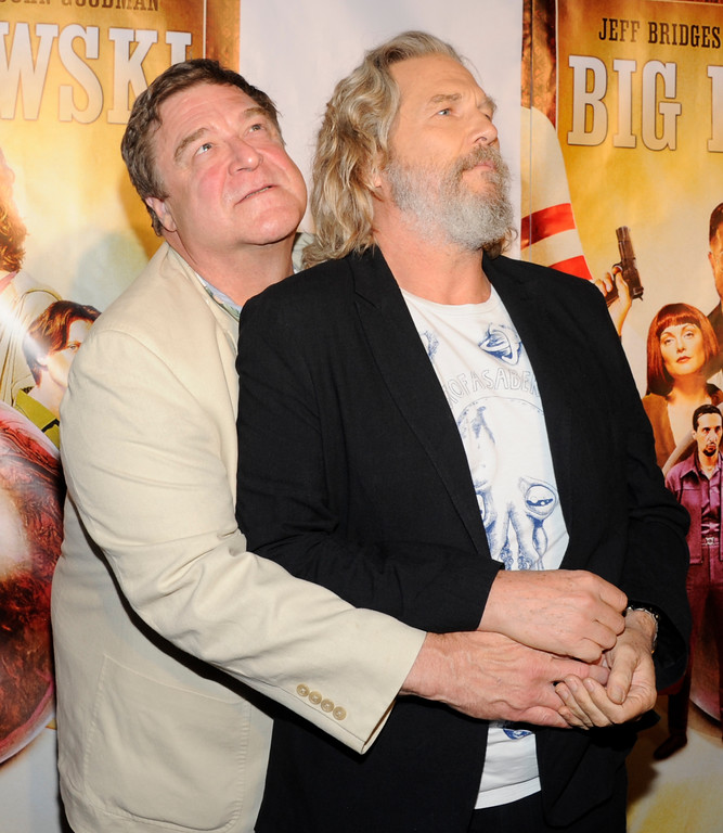 . Actors Jeff Bridges, left, and John Goodman attend \'The Big Lebowski\' limited edition Blu-Ray DVD launch event at The Hammerstein Ballroom on Tuesday, Aug. 16, 2011 in New York. (AP Photo/Evan Agostini)