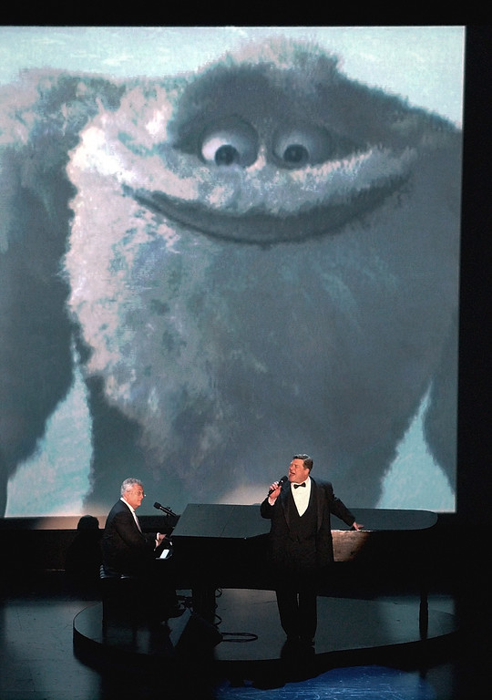 . Singer Randy Newman, left, and actor John Goodman perform the Oscar-nominated song  If I Didnt Have You from the animated film Monsters, Inc. during the 74th annual Academy Awards on Sunday, March 24, 2002, in Los Angeles. Goodman provided the voice for Sullivan in the movie. (AP Photo/Kevork Djansezian)