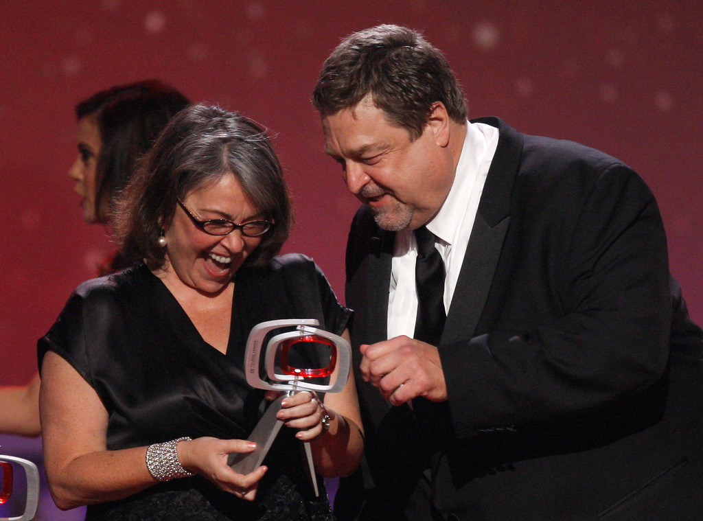 . Roseanne Barr, left, and John Goodman, of the cast of Roseanne, accept the innovation award at the TV Land Awards on Sunday June 8, 2008 in Santa Monica, Calif.   (AP Photo/Kevork Djansezian)