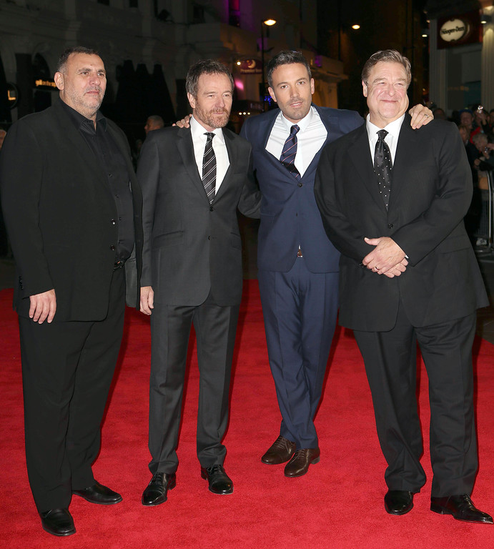 . Premiere for Argo,London Film Festival Accenture Gala arrivals, 17th October, 2012  Odeon Leicester Sq,London, UK. (Photo by Jon Furniss/Invision/AP)  Picture shows: Graham King, Bryan Cranston,Ben Affleck and John Goodman