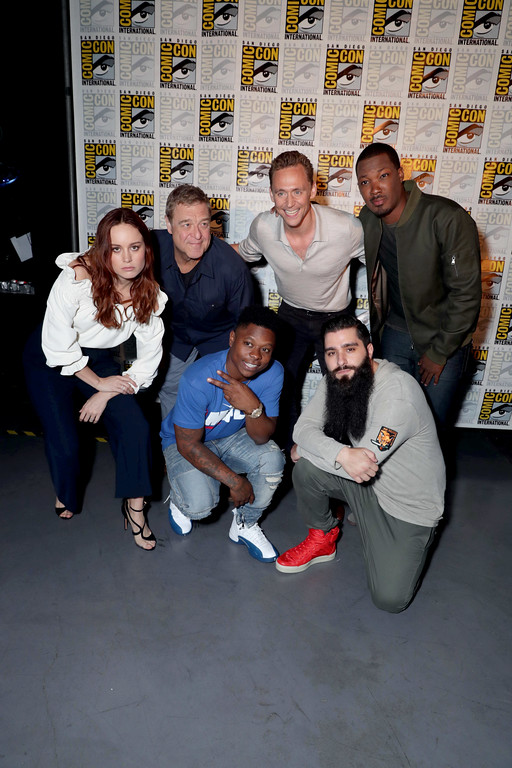 ". Brie Larson, John Goodman, Jason Mitchell, Tom Hiddleston, Director Jordan Vogt-Roberts and Corey Hawkins of ""Kong: Skull Island\"" seen at Warner Bros. Presentation at 2016 Comic-Con on Saturday, July 23, 2016, in San Diego, Calif. (Photo by Eric Charbonneau/Invision for Warner Bros./AP Images)"