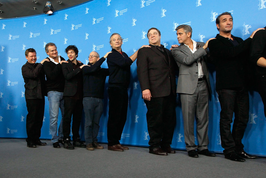 . BERLIN, GERMANY - FEBRUARY 08:  Justus von Dohnanyi, Hugh Bonneville, Dimitri Leonidas, Bob Balaban, Bill Murray, John Goodman, George Clooney and Jean Dujardin attend \'The Monuments Men\' photocall during 64th Berlinale International Film Festival at Grand Hyatt Hotel on February 8, 2014 in Berlin, Germany.  (Photo by Andreas Rentz/Getty Images)