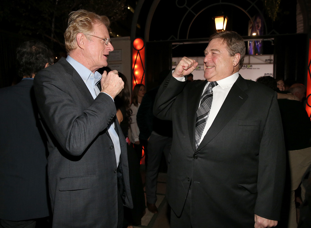 """. HOLLYWOOD, CA - NOVEMBER 06:  Actors Ed Begley Jr. (L) and John Goodman attend the Amazon Studios Launch Party to celebrate the premieres of their 1st original series\' \""""Alpha House\"""" and \""""Betas\"""" at Boulevard3 on November 6, 2013 in Hollywood, California.  (Photo by Christopher Polk/Getty Images for Amazon Studios)"""