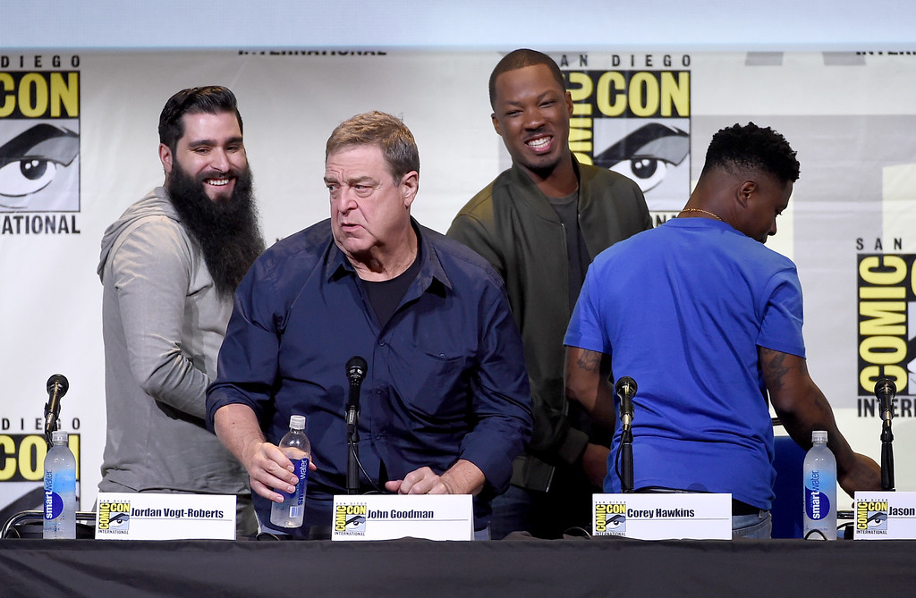 . SAN DIEGO, CA - JULY 23:  (L-R) Director Jordan Vogt-Roberts, actors John Goodman, Corey Hawkins and Jason Mitchell attend the Warner Bros. \'Kong: Skull Island\' Presentation during Comic-Con International 2016 at San Diego Convention Center on July 23, 2016 in San Diego, California.  (Photo by Kevin Winter/Getty Images)