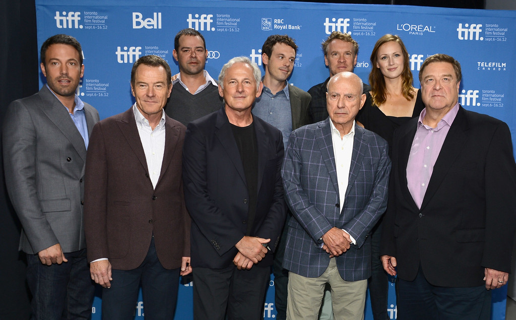. TORONTO, ON - SEPTEMBER 08:  (L-R) Writer/actor/director/producer Ben Affleck, and actors Bryan Cranston, Rory Cochrane, Victor Garber, Scoot McNairy, Alan Arkin, Tate Donovan, Kerry Bishe and John Goodman attend the \'Argo\' photo call during the 2012 Toronto International Film Festival at TIFF Bell Lightbox on September 8, 2012 in Toronto, Canada.  (Photo by Alberto E. Rodriguez/Getty Images)