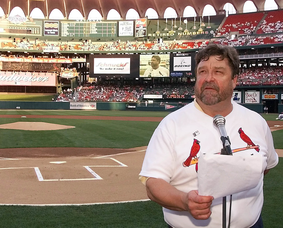 . Actor and St. Louis native John Goodman recites the farewell speech of Lou Gehrig as part of the league wide celebration of Project ALS daySaturday, June 1, 2002 at Busch Stadium in St. Louis. ALS is the disease better known as Lou Gehrig\'s disease. (AP Photo/Tom Gannam)