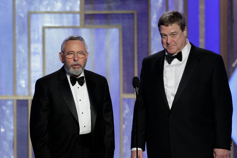 . 70th ANNUAL GOLDEN GLOBE AWARDS -- Pictured: (l-r) Presenters Tony Mendez, John Goodman on stage during the 70th Annual Golden Globe Awards held at the Beverly Hilton Hotel on January 13, 2013 -- (Photo By: Paul Drinkwater/NBC)