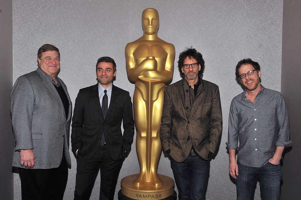 ". NEW YORK, NY - DECEMBER 03:  John Goodman, Oscar Isaac, Joel Coen and Ethan Coen attend an Official Academy Members Screening of ""Inside Llewn Davis\"" Hosted by The Academy of Motion Picture Arts and Sciences at the Academy Theater at Lighthouse International on December 3, 2013 in New York City.  (Photo by Henry S. Dziekan III/Getty Images for Academy of Motion Picture Arts and Sciences)"