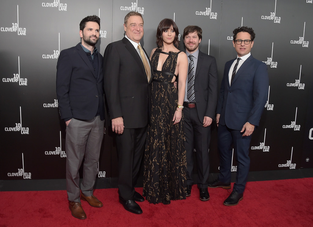 ". NEW YORK, NY - MARCH 08:  (L-R) Dan Trachtenberg, John Goodman, Mary Elizabeth Winstead, John Gallagher Jr. and J.J. Abrams attend the ""10 Cloverfield Lane\"" New York premiere at AMC Loews Lincoln Square 13 theater on March 8, 2016 in New York City.  (Photo by Theo Wargo/Getty Images)"