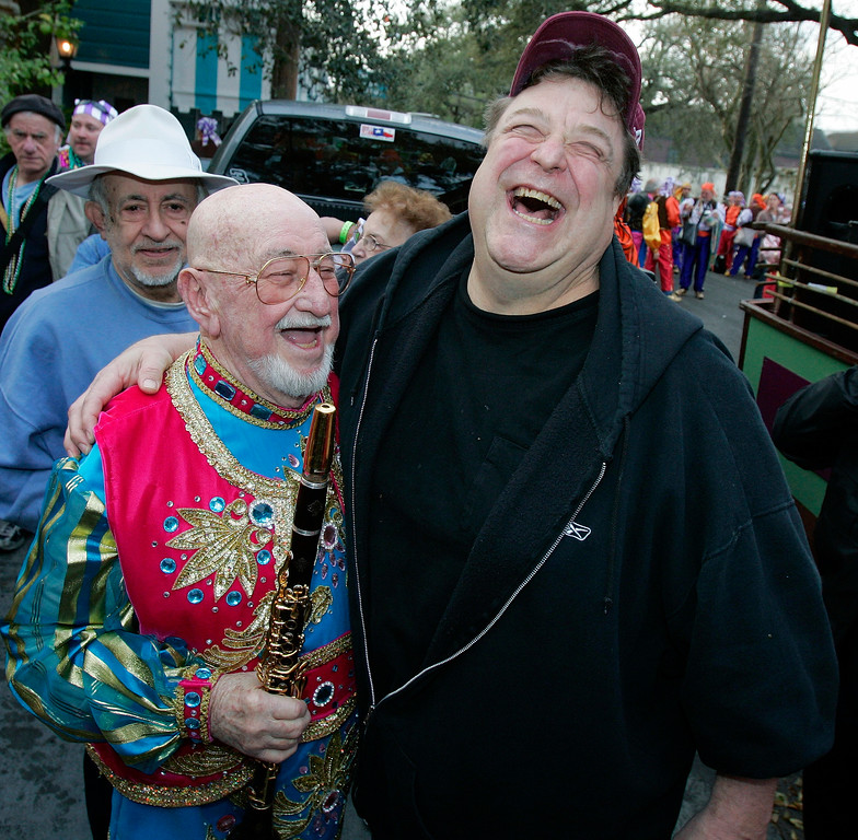 . New Orleans jazz great Pete Fountain and actor John Goodman, right, share a laugh before Fountain leads his Half Fast Marching Club through the streets of New Orleans, Tuesday, Feb. 20, 2007. Fountain is the official starter of the day long celebration known as Mardi Gras.  (AP Photo/Bill Haber)