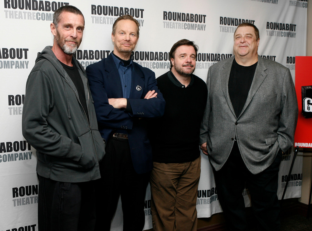 ". Cast members of ""Waiting for Godot\"" pose for a picture in New York, Friday, March 20, 2009.  From left to right:  John Glover, Bill Irwin, Nathan Lane and John Goodman.   (AP Photo/Seth Wenig)"