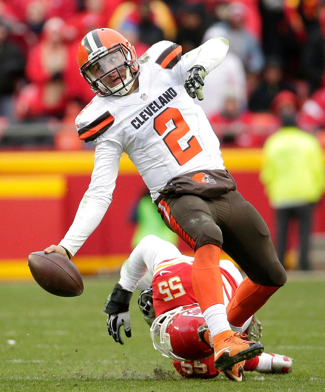 . Cleveland Browns quarterback Johnny Manziel (2) is tackled by Kansas City Chiefs linebacker Dee Ford (55) during the second half of an NFL football game in Kansas City, Mo., Sunday, Dec. 27, 2015. (AP Photo/Charlie Riedel)