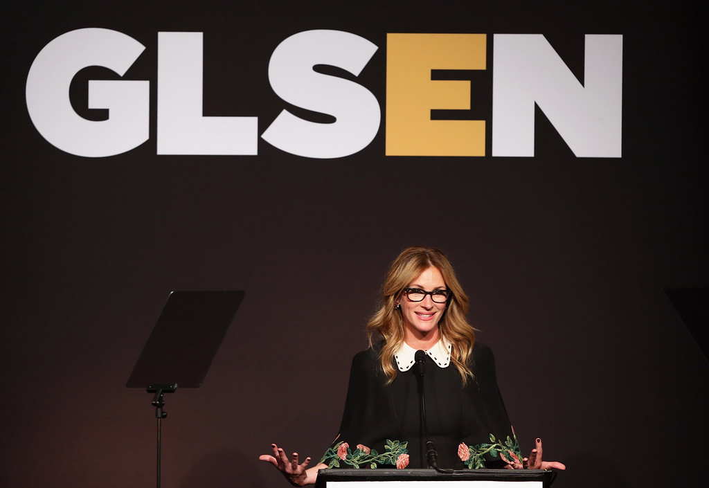. BEVERLY HILLS, CA - OCTOBER 21:  Honorary Co-Chair Julia Roberts speaks onstage at the 2016 GLSEN Respect Awards - Los Angeles at the Beverly Wilshire Four Seasons Hotel on October 21, 2016 in Beverly Hills, California.  (Photo by Jonathan Leibson/Getty Images for GLSEN)