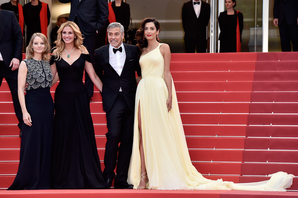 ". CANNES, FRANCE - MAY 12:  Producer Jodie Foster, actors Julia Roberts, George Clooney and his wife Amal Clooney attend the ""Money Monster\"" premiere during the 69th annual Cannes Film Festival at the Palais des Festivals on May 12, 2016 in Cannes, France.  (Photo by Pascal Le Segretain/Getty Images)"