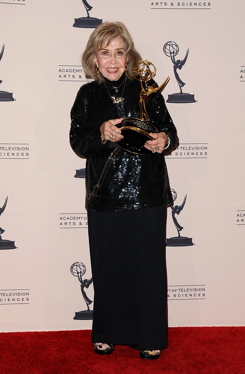 . File - June Foray poses in the press room at the 2013 Primetime Creative Arts Emmy Awards, on Sunday, September 15, 2013 at Nokia Theatre L.A. Live, in Los Angeles, Calif. Foray died on Wednesday, July 26, 2017. She was 99.  (Photo by Scott Kirkland/Invision for Academy of Television Arts & Sciences/AP Images)