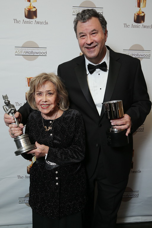 . June Foray and Howard Green at the 40th Annual Annie Awards held at UCLA Royce Hall on February 2, 2013 in Los Angeles, California. (Photo by Eric Charbonneau/Invision/AP Images)