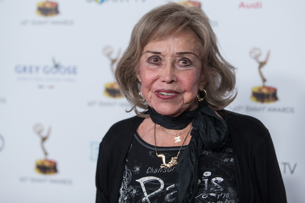 . File - Actress June Foray arrives at the 65th Primetime Emmy Awards Performers Nominee Reception at the Pacific Design Center on Friday, Sept. 20, 2013 in Los Angeles. Foray died on Wednesday, July 26, 2017. She was 99.  (Photo by Paul A. Hebert/Invision/AP)