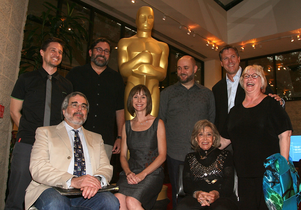 ". BEVERLY HILLS, CA - AUGUST 19:  From L to R : Voice artist Yuri Lowenthal, Animation historian Charles Solomon,  Voice artists, Bob Peterson, Susan Egan, animator James Baxter, voice artists June Foray, Russi Taylor and Casting Executive Rick Dempsey  attend AMPAS\' ""Voice Artists Speak Up At Academy\"" Event  on August 19, 2010 in Beverly Hills, California.  (Photo by Valerie Macon/Getty Images)"