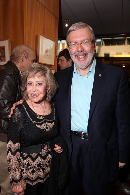 . BEVERLY HILLS, CA - JULY 28: June Foray and Leonard Maltin at the 14th Marc Davis Animation Celebrating Hayao Miyazaki on July 28, 2009 at the Academy of Motion Pictures Arts and Sciences in Beverly Hills, California. (Photo by Eric Charbonneau/Invision/AP Images)