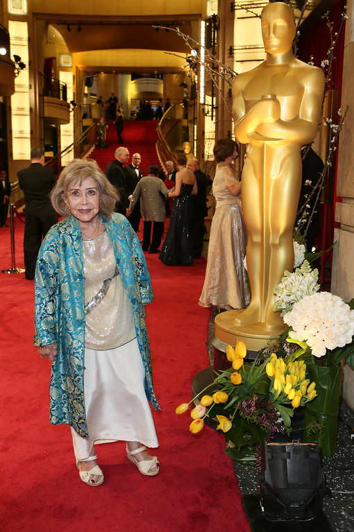 . File - June Foray arrives at the Oscars on Sunday, March 2, 2014, at the Dolby Theatre in Los Angeles.  Foray died on Wednesday, July 26, 2017. She was 99.  (Photo by Alexandra Wyman/Invision/AP)