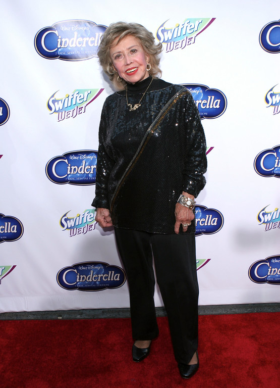 ". NEW YORK - OCTOBER 2:  June Foray, who does the voice of Lucifer in ""Cinderella,\"" attends the \""Cinderella\"" red carpet premiere in honor of the DVD launch at the Ziegfeld on October 2, 2005 in New York City.  (Photo by Thos Robinson/Getty Images)"