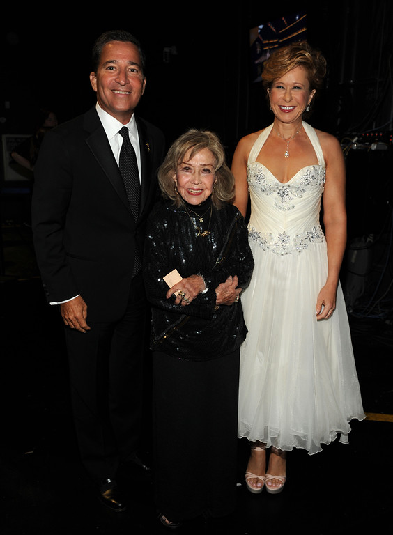 . From left, Television Academy Chairman & CEO, Bruce Rosenblum, June Foray and Yeardley Smith attend the 2013 Primetime Creative Arts Emmy Awards, on Sunday, September 15, 2013 at Nokia Theatre L.A. Live, in Los Angeles, Calif. (Photo by Frank Micelotta/Invision for Academy of Television Arts & Sciences/AP Images)