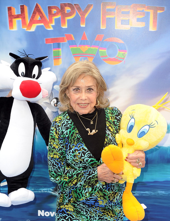 ". June Foray arrives at the premiere of  ""Happy Feet Two\"" at Grauman\'s Chinese Theater, Sunday, Nov. 13, 2011, in Los Angeles.  \""Happy Feet Two\"" will be released in 3D and 2D in select theaters Nov. 18, 2011. (AP Photo/Katy Winn)"