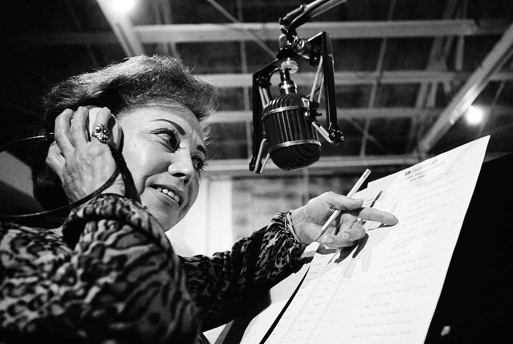 . June Foray, shown on the job Nov. 2, 1967, is modestly listed in the Motion Picture Almanax as �voice specialist,� but she has perhaps the most remarkable vocal range in Hollywood. She can imitate babies and birds and sexy dames, along with doting grandmas and cackling witches. It�s a talent that earns her $250 an hour. (AP Photo/George Brich)