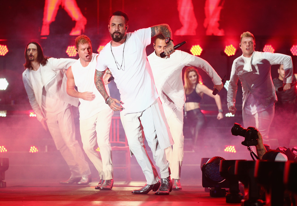 . CARSON, CA - MAY 13:  Kevin Richardson, Brian Littrell, A.J. McLean, Howie Dorough, and Nick Carter of Backstreet Boys perform onstage during 102.7 KIIS FM\'s 2017 Wango Tango at StubHub Center on May 13, 2017 in Carson, California.  (Photo by Rich Fury/Getty Images)