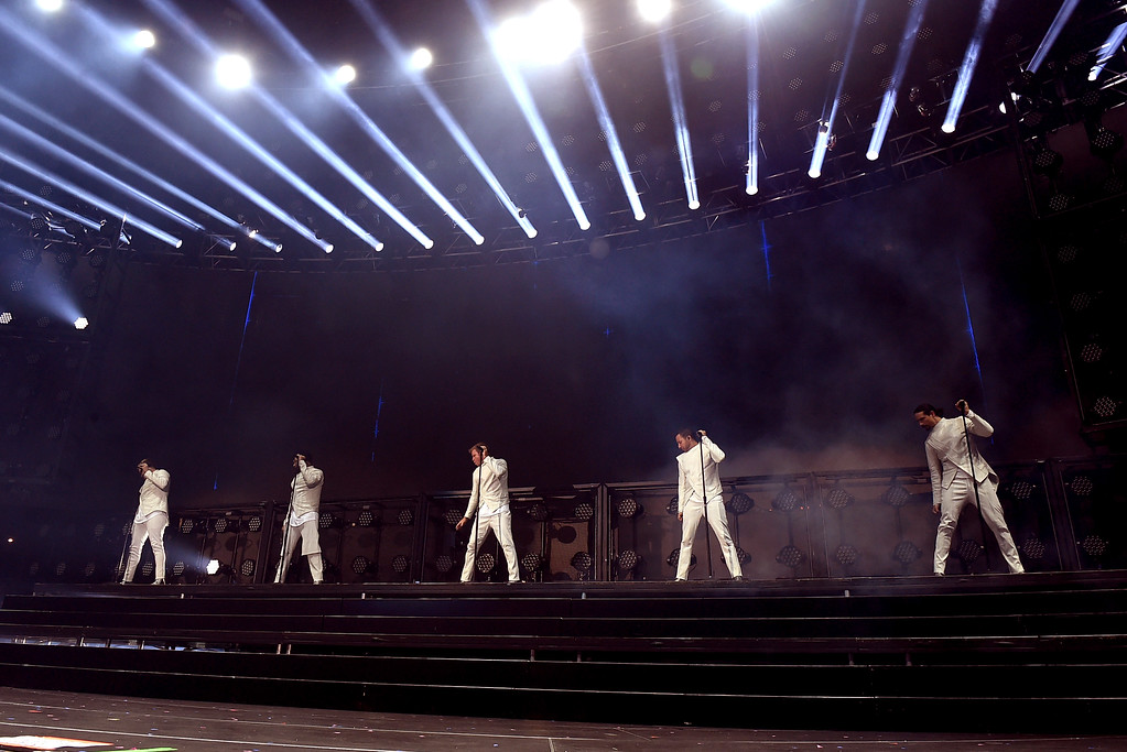 . CARSON, CA - MAY 13:  (L-R) A.J. McLean, Nick Carter, Brian Littrell, Howie Dorough, and Kevin Richardson of Backstreet Boys perform onstage during 102.7 KIIS FM\'s 2017 Wango Tango at StubHub Center on May 13, 2017 in Carson, California.  (Photo by Kevin Winter/Getty Images)