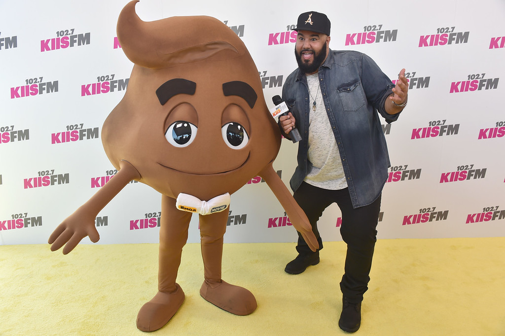 . CARSON, CA - MAY 13:  Character from \'The Emoji Movie\' (L) and Chuey attend 102.7 KIIS FM\'s 2017 Wango Tango at StubHub Center on May 13, 2017 in Carson, California.  (Photo by Frazer Harrison/Getty Images)