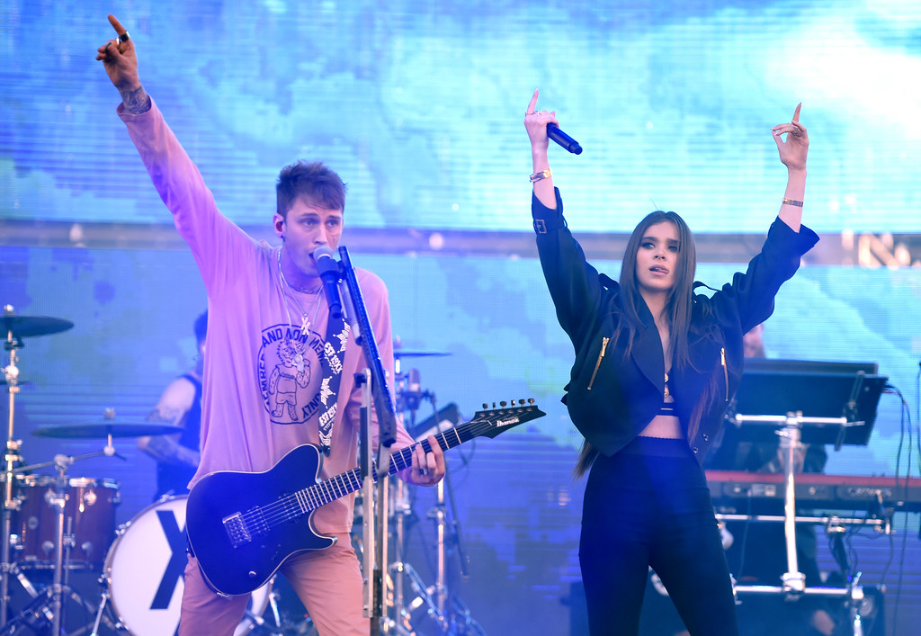 . Machine Gun Kelly, left, and Hailee Steinfeld perform at Wango Tango at StubHub Center on Saturday, May 13, 2017, in Carson, Calif. (Photo by Chris Pizzello/Invision/AP)