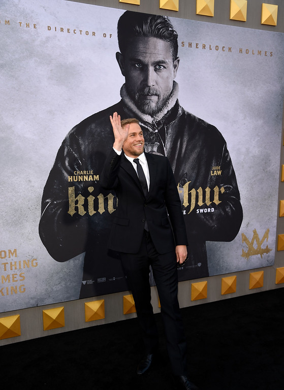 ". Charlie Hunnam arrives at the world premiere of ""King Arthur: Legend of the Sword\"" at the TCL Chinese Theatre on Monday, May 8, 2017, in Los Angeles. (Photo by Chris Pizzello/Invision/AP)"