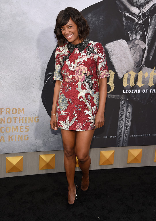 """. Aisha Tyler arrives at the world premiere of \""""King Arthur: Legend of the Sword\"""" at the TCL Chinese Theatre on Monday, May 8, 2017, in Los Angeles. (Photo by Chris Pizzello/Invision/AP)"""