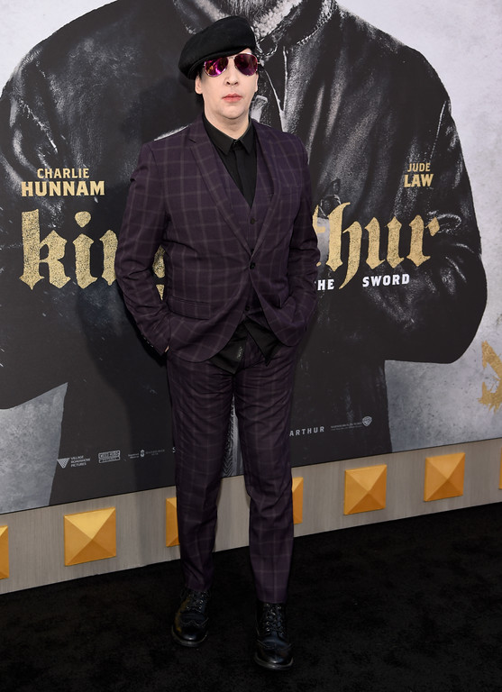 ". Marilyn Manson arrives at the world premiere of ""King Arthur: Legend of the Sword\"" at the TCL Chinese Theatre on Monday, May 8, 2017, in Los Angeles. (Photo by Chris Pizzello/Invision/AP)"