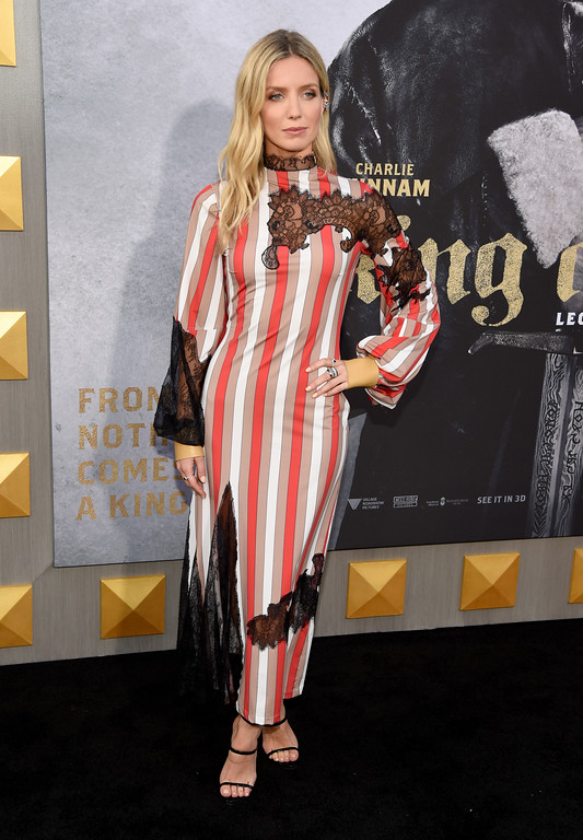 """. Annabelle Wallis arrives at the world premiere of \""""King Arthur: Legend of the Sword\"""" at the TCL Chinese Theatre on Monday, May 8, 2017, in Los Angeles. (Photo by Chris Pizzello/Invision/AP)"""