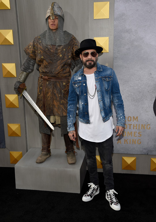 ". AJ McLean arrives at the world premiere of ""King Arthur: Legend of the Sword\"" at the TCL Chinese Theatre on Monday, May 8, 2017, in Los Angeles. (Photo by Chris Pizzello/Invision/AP)"