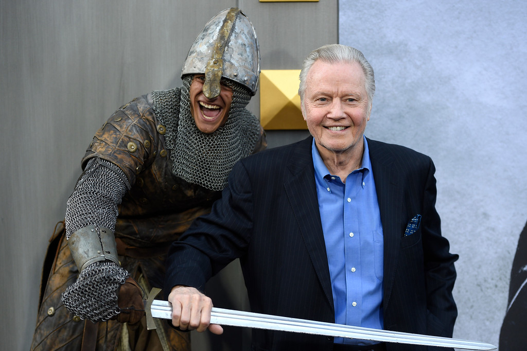 ". Jon Voight arrives at the world premiere of ""King Arthur: Legend of the Sword\"" at the TCL Chinese Theatre on Monday, May 8, 2017, in Los Angeles. (Photo by Chris Pizzello/Invision/AP)"