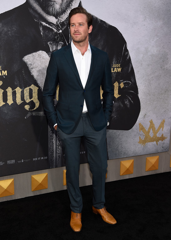 ". Armie Hammer arrives at the world premiere of ""King Arthur: Legend of the Sword\"" at the TCL Chinese Theatre on Monday, May 8, 2017, in Los Angeles. (Photo by Chris Pizzello/Invision/AP)"