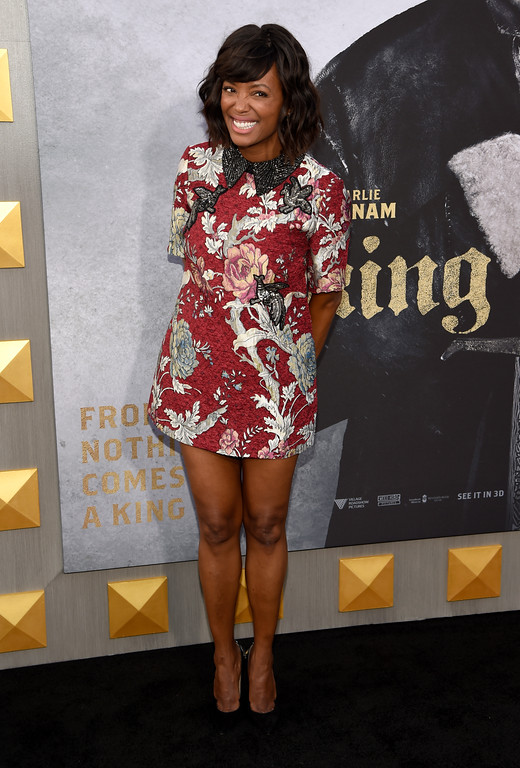". Aisha Tyler arrives at the world premiere of ""King Arthur: Legend of the Sword\"" at the TCL Chinese Theatre on Monday, May 8, 2017, in Los Angeles. (Photo by Chris Pizzello/Invision/AP)"