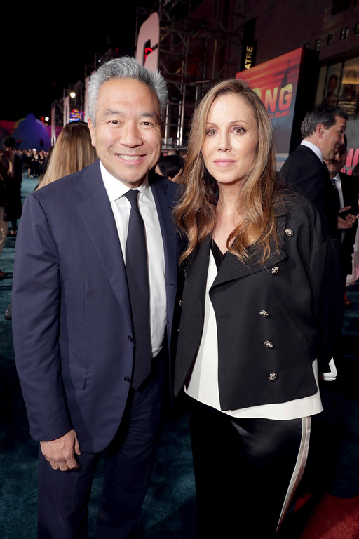 ". Kevin Tsujihara, Chairman and CEO of Warner Bros., and Producer Mary Parent seen at Warner Bros. Pictures and Legendary Pictures Present the Los Angeles Premiere of ""Kong: Skull Island\"" at Dolby Theatre on Wednesday, March 8, 2017, in Los Angeles. (Photo by Eric Charbonneau/Invision for Warner Bros./AP Images)"