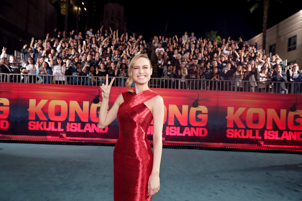 ". Brie Larson seen at Warner Bros. Pictures and Legendary Pictures Present the Los Angeles Premiere of ""Kong: Skull Island\"" at Dolby Theatre on Wednesday, March 8, 2017, in Los Angeles. (Photo by Eric Charbonneau/Invision for Warner Bros./AP Images)"