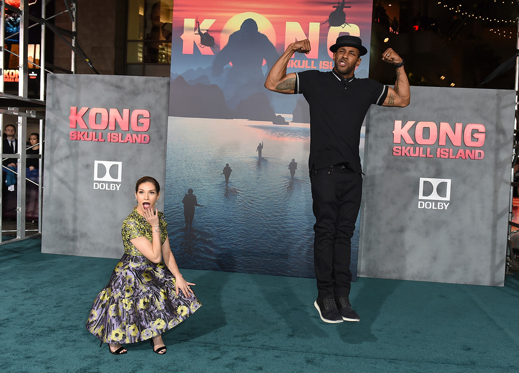 ". Allison Holker, left, and Stephen Boss arrive at the Los Angeles premiere of ""Kong: Skull Island\"" at the Dolby Theatre on Wednesday, March 8, 2017. (Photo by Jordan Strauss/Invision/AP)"
