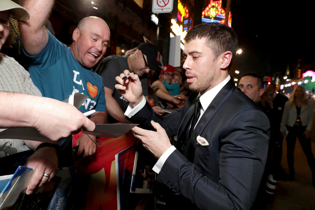 ". Toby Kebbell seen at Warner Bros. Pictures and Legendary Pictures Present the Los Angeles Premiere of ""Kong: Skull Island\"" at Dolby Theatre on Wednesday, March 8, 2017, in Los Angeles. (Photo by Eric Charbonneau/Invision for Warner Bros./AP Images)"