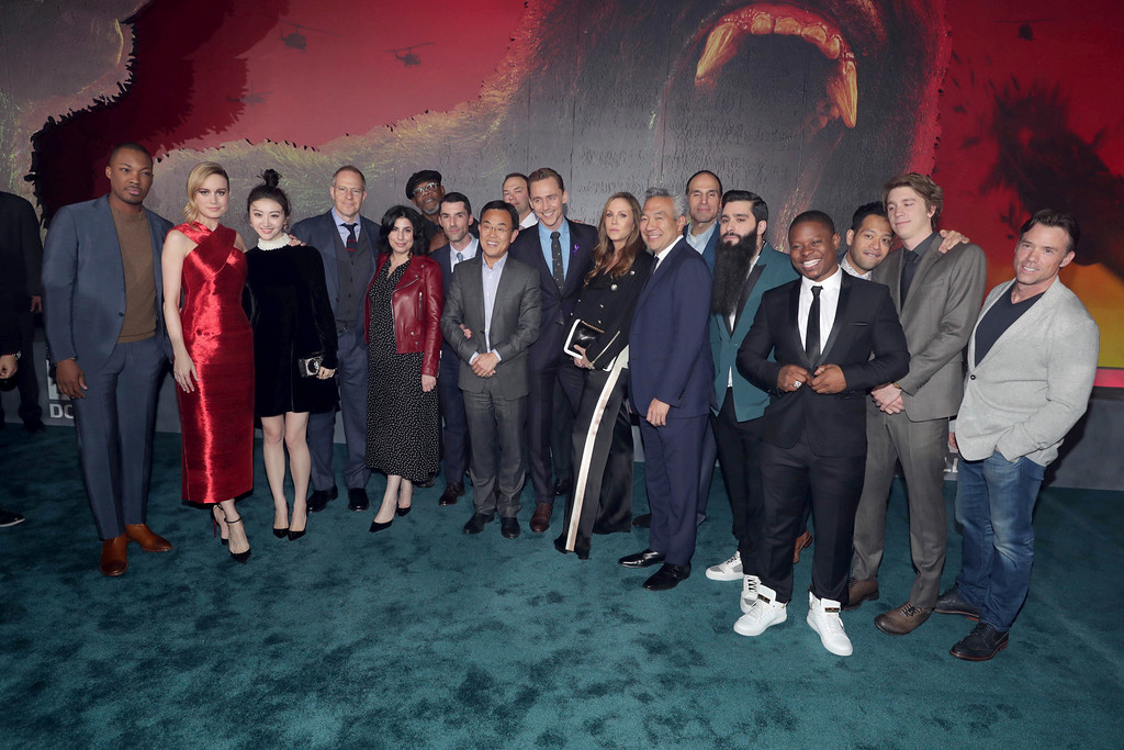 ". Cast and crew of ""Kong: Skull Island\"" seen at Warner Bros. Pictures and Legendary Pictures Present the Los Angeles Premiere of \""Kong: Skull Island\"" at Dolby Theatre on Wednesday, March 8, 2017, in Los Angeles. (Photo by Eric Charbonneau/Invision for Warner Bros./AP Images)"