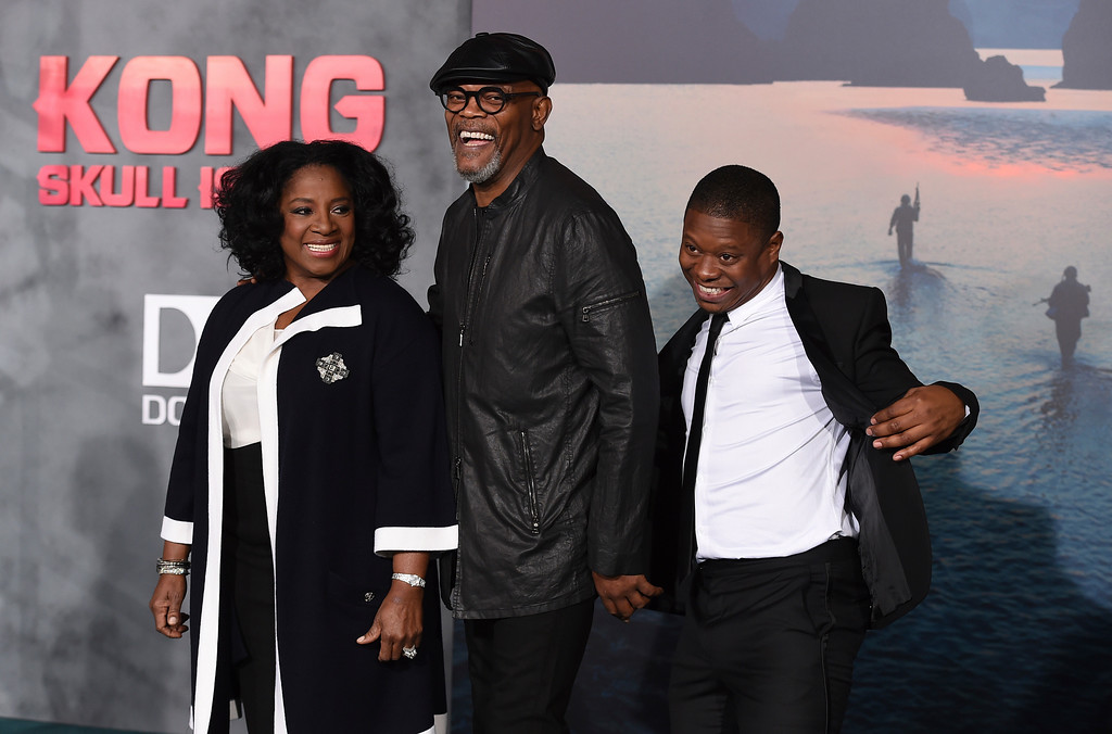 ". LaTanya Richardson, from left, Samuel L. Jackson and Jason Mitchell arrive at the Los Angeles premiere of ""Kong: Skull Island\"" at the Dolby Theatre on Wednesday, March 8, 2017. (Photo by Jordan Strauss/Invision/AP)"