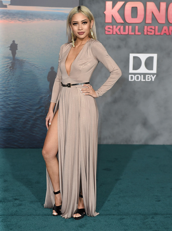 ". Amy Pham arrives at the Los Angeles premiere of ""Kong: Skull Island\"" at the Dolby Theatre on Wednesday, March 8, 2017. (Photo by Jordan Strauss/Invision/AP)"