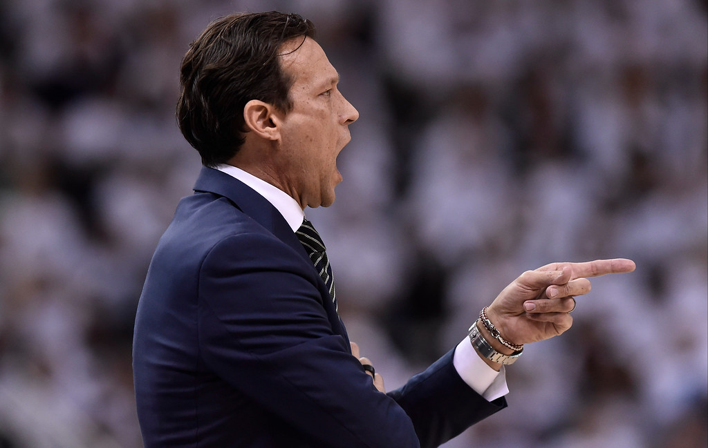 . SALT LAKE CITY, UT - APRIL 28: Head coach Quin Snyder of the Utah Jazz gestures from the sideline in the first half against the Los Angeles Clippers in Game Six of the Western Conference Quarterfinals during the 2017 NBA Playoffs at Vivint Smart Home Arena on April 28, 2017 in Salt Lake City, Utah.  (Photo by Gene Sweeney Jr/Getty Images)